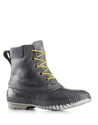 Sorel Cheyanne Leather Lace Up Boots Grey