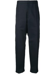 Jil Sander Creased Cropped Trousers Blue