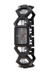 Steve Madden Women's Hexagon Enamel Link Bracelet Watch Black