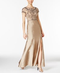 Adrianna Papell Beaded Cap Sleeve Slit Gown Antique Bronze