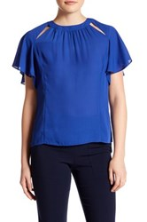 Laundry By Shelli Segal Short Flutter Sleeve Front Cutout Blouse Blue