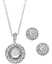 Charter Club Silver Tone Crystal Round Stud Earrings And Pendant Necklace Set Only At Macy's