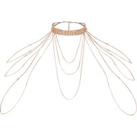 River Island Rose Gold Tone Diamante Draped Choker Harness