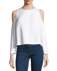 Veronica Beard Knight Boxy Cold Shoulder Blouse Off White