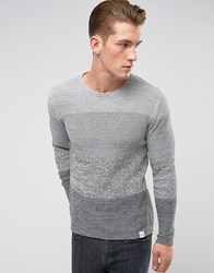 Only And Sons Knitted Sweater With Mixed Stripe Detail Gray