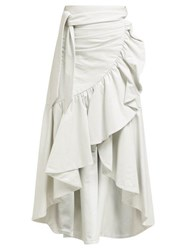 Rodarte Asymmetric Ruffled Leather Skirt White