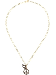 Lauren Craft Collection Peace And Evil Eye Charm Necklace Metallic