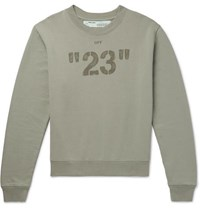 Off White Printed Embroidered Loopback Cotton Jersey Sweatshirt Green
