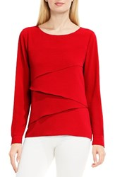 Vince Camuto Women's Asymmetrical Tiered Blouse Dynamic Red