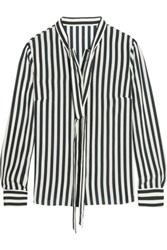 Iris And Ink Striped Silk Blouse Navy