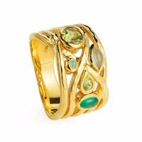 Neola Liana Gold Ring Green Amethyst Onyx And Peridot