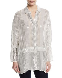 Sally Lapointe Sequin Striped Tie Sleeve Blouse White Silver