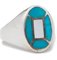 Foundwell Vintage 1980S Sterling Silver Turquoise And Mother Of Pearl Ring Silver