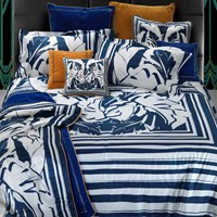 Roberto Cavalli Foglie Kaft Duvet Set Super King Blue