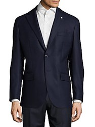 Lubiam Modern Fit Textured Wool Sportcoat Navy
