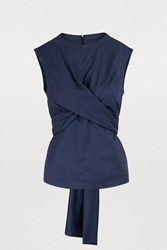 Dries Van Noten Knotted Blouse Navy