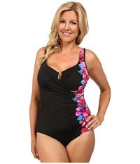 Miraclesuit Plus Size Garland Escape Swimsuit Black Women's Swimsuits One Piece