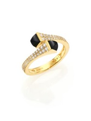 Marli Cleo Black Onyx Diamond And 18K Yellow Gold Wrap Ring Gold Black