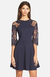 Women's Bb Dakota 'Yale' Lace Panel Fit And Flare Dress Oilslick