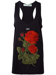 Off White Rose Embroidery Tank Black