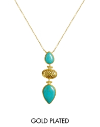 Ottoman Hands Stone And Hammered Necklace Turquoise