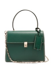 Valentino Stud Stitching Leather Tote Green
