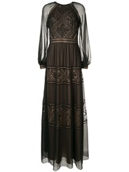 Tadashi Shoji Embroidered Detail Longsleeved Dress Black