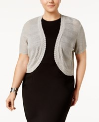 Ny Collection Plus Size Pointelle Knit Shrug Grey Cloud