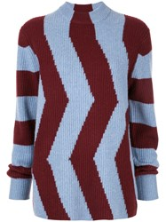 Ck Calvin Klein Colour Block Fitted Sweater Blue