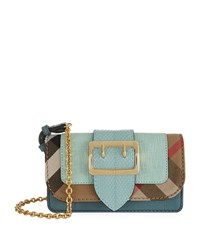 Burberry Shoes And Accessories Mini Buckle Bag With House Check Female Turquoise