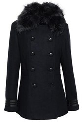 Line Woman Ellis Double Breasted Faux Fur Trimmed Brushed Felt Coat Midnight Blue