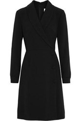Mikael Aghal Wrap Effect Crepe Dress Black