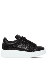 Alexander Mcqueen 40Mm Glitter And Leather Sneakers Black