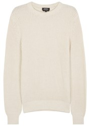 A.P.C. Travel Ribbed Cotton Blend Jumper Off White