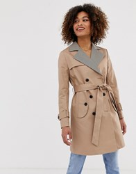 Pepe Jeans Daria Trench Coat With Check Lapels Beige