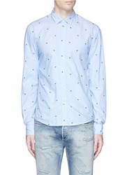 Scotch And Soda Leaf Embroidered Cotton Dobby Shirt Blue