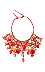 Ranjana Khan Red Pom Pom Fan Necklace