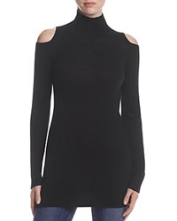Three Dots Cold Shoulder Merino Wool Turtleneck Sweater Black