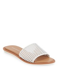 French Connection Ingrid Laser Cut Slide Sandals White