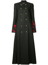 Macgraw Heart Embroidered Double Breasted Coat Black