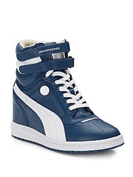Puma By Mihara Yasuhira My 66 Leather Wedge Sneakers Blue White