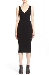 Autumn Cashmere Knit V Neck Sheath Midi Dress Black