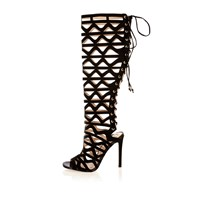 River Island Womens Black Caged Lace Up High Leg Gladiator Heels