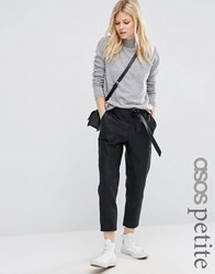 Asos Petite Leather Look Joggers With Tie Black