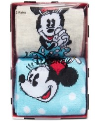 Disney Women's 2 Pk. Minnie Mouse Crew Socks Gift Box Oatmeal Heather