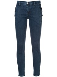 J Brand Button Detail Skinny Jeans Blue