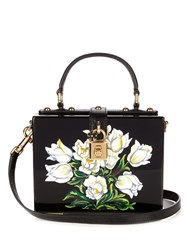 Dolce And Gabbana Tulip Print Plexiglass Clutch Black White
