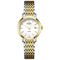 Rotary Lb90154 01 Women's Les Originales Windsor Date Two Tone Bracelet Strap Watch Silver Gold