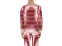 Sleepy Jones Men's Rugby Striped Cotton Thermal Shirt Red