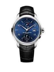 Baume And Mercier Clifton 10316 Stainless Steel Alligator Strap Watch Black Blue